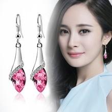 2017 NEW 925 silver JewelryAuthentic Austria teardrop shaped crystal earrings crystal from SWAROVSKI Ladies Fashion Earrings