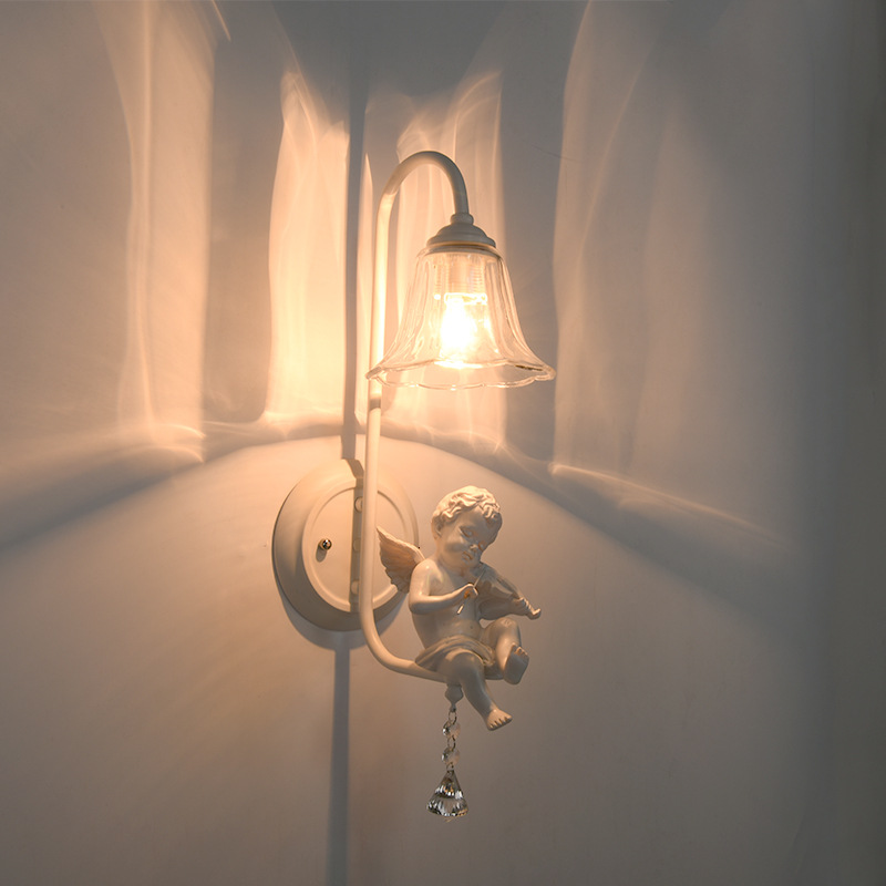 ФОТО Lovely angel Crystal wall lamps Angel trumpet or angel playing the violin Resin glass wall lights E14*1 LED stairs aisle lamp