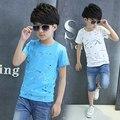 Diseño de Salpicaduras de Tinta de Impresión Tee Shirt Boy Niños Ropa de verano Niño Universales Niño Chico camiseta de Algodón Tops Ropa de Moda