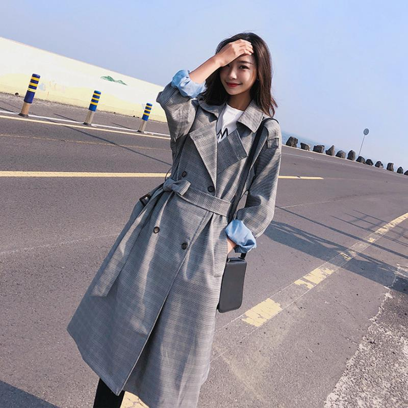 Chequered Windswear Female Mid-Long Spring And Autumn New Loose Knee Thin Coat