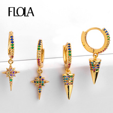 FLOLA Zirconia Rainbow Earrings Gold Filled Gothic Earrings Huggies 24K Rainbow Accesories Woman pendientes pequenos ersq29 цена и фото