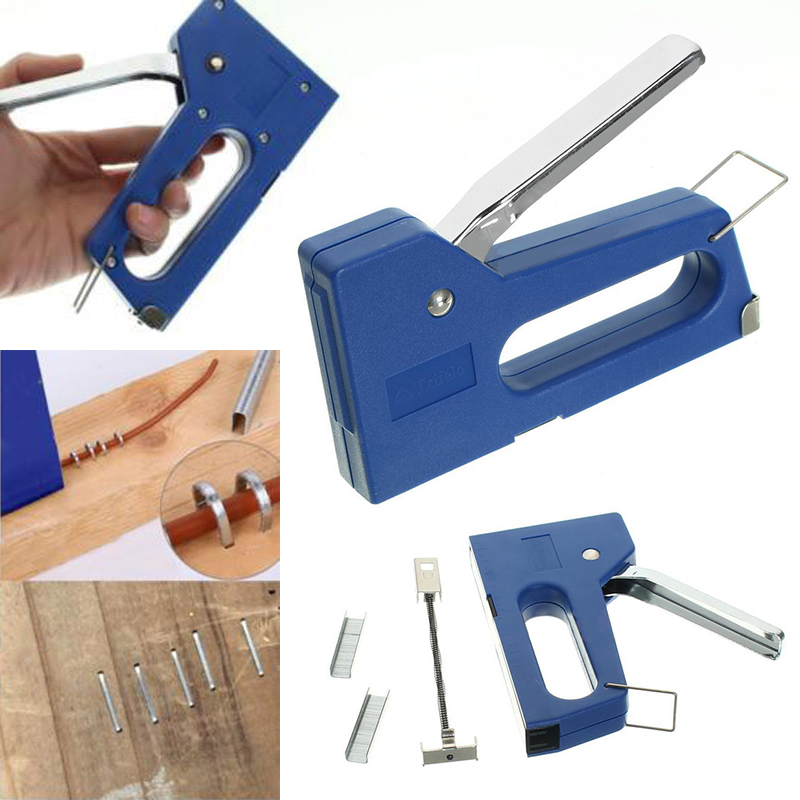 Mini Staple Nail Stapler Stapling Machine Kit with 100pcs 6mm Nails For Furniture Woodworking Stapler Hand Tools no nails no staples stapling machine mini cute book stapleless stapler paper stapling stapler without staple stapler free