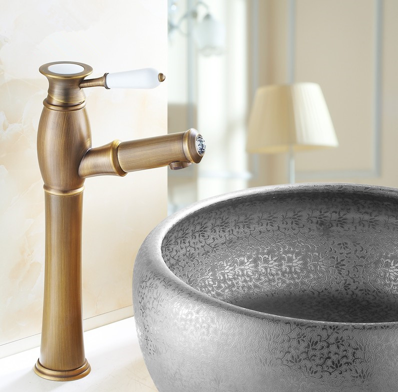 Modern Art  Design Antique Brass Bathroom Basin Faucet/ Deck Mounted  hot and cold Water taps/ Fashion wash basin Sink Tap 601-2 two hole deck mounted hot and cold taps brass chrome surface sink basin faucet water tap for hotel bathroom