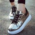 Новая Мода Женская Обувь Блестка Лианы Старинные Шнуровке Платформы Плоские Туфли Женские Повседневная Zapatos Mujer Размер 35-39 9D14