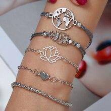WNGMNGL 2019 Simple Design 5/set Silver Flower Heart Geometric Bracelet For Rope Chain Women  Bangles Female Jewelry Lady Gift
