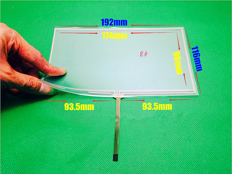 New 8 inch 192mm*116mm 192*116mm 4 wire Resistive Touch screen digitizer panels CAR GPS Navigation Touch Screen Panels