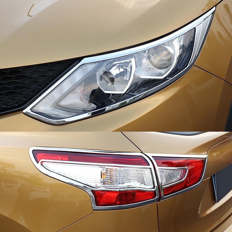 Fit For Nissan Qashqai J11 2014-2016 Chrome Front Rear Headlight Tail Light Lamp Cover Trim Frame Rim Bezel Molding Accessories