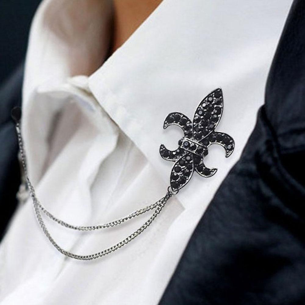 Árbol Navideño- Vladimir Dragotzy 1pcs-Crystal-Chain-Tassels-Suit-Brooch-Lapel-Pin-Neck-Collar-Tip-Shirt-Brooches-Men-Accessories-Black