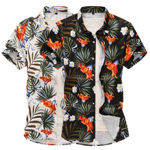 Hawaiian Shirt for Men clothing Evening Dress Casual Social Plus size Short sleeve Blouse Summer Black White Size