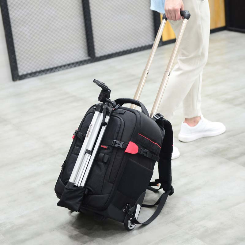 LeTrend Large capacity shockproof Shoulder Travel Bags Photography backpack Professional SLR camera bag Suitcase Wheels Trolley