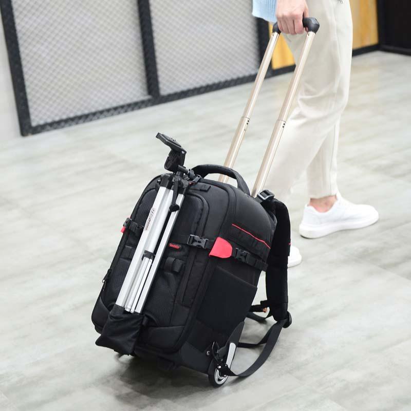 LeTrend grande capacité antichoc épaule voyage sacs photographie sac à dos professionnel reflex appareil photo sac valise roues chariot