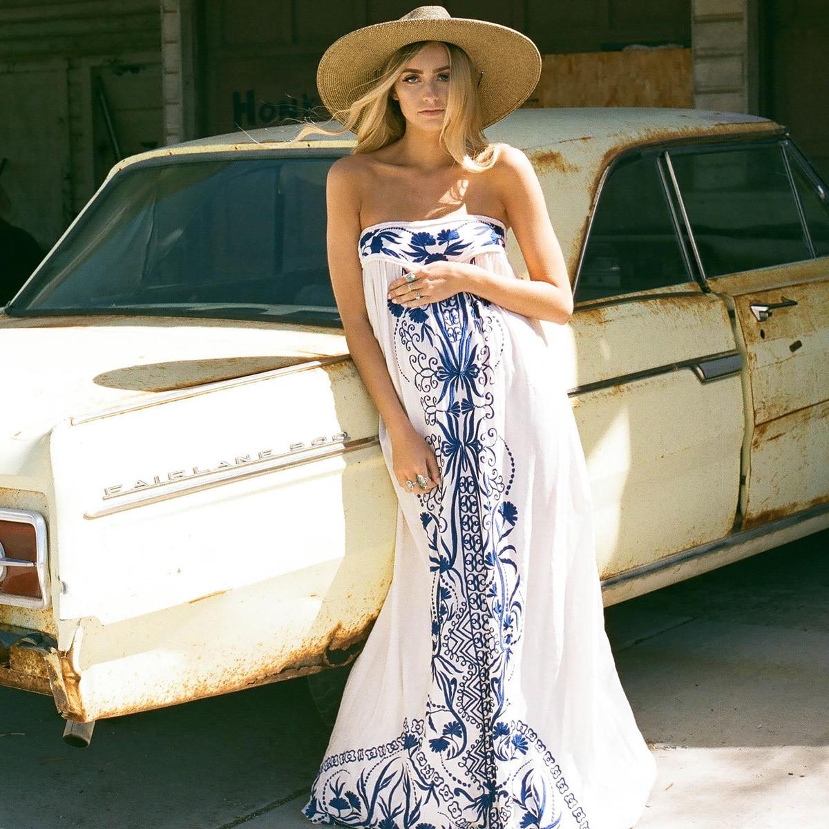 Jastie brodé Maxi robe bretelles d'été robes élastique dos décontracté femmes robe Boho Chic longue plage robes Vestidos