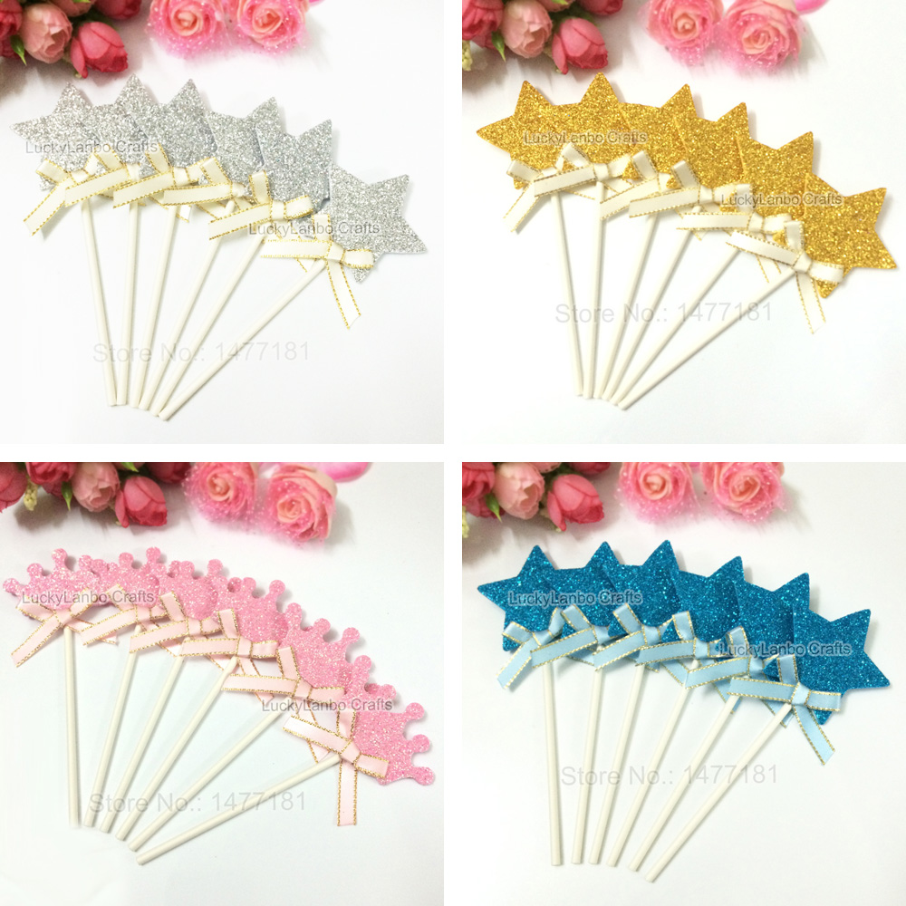 36pcs baby girls crown cupcake toppers picks baby boys for Baby shower cupcake picks decoration