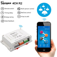 Sonoff 4CH R2 Wifi Smart Switch 4 Gang Wifi Light Switch Smart Home App Remote Interrupter Relay Works with Alexa Google Home