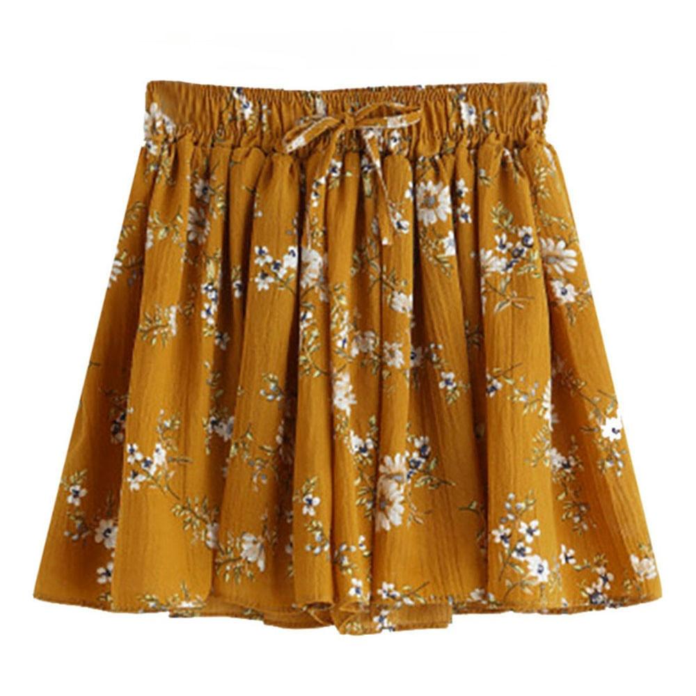 Womens Floral Print Mid Waist Elastic Loose Shorts Waist Ringer Scanties