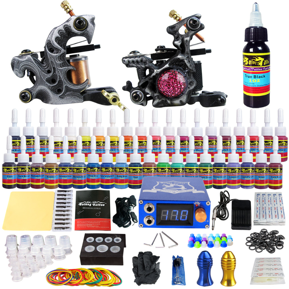 Solong Tattoo Wholesale Complete Tattoo Kits Pro 2 Handmade Coil Machine Guns Power Supply Foot Pedal Grip Tip Ink Set TKB09 wholesale price foot control pedal for welding machine