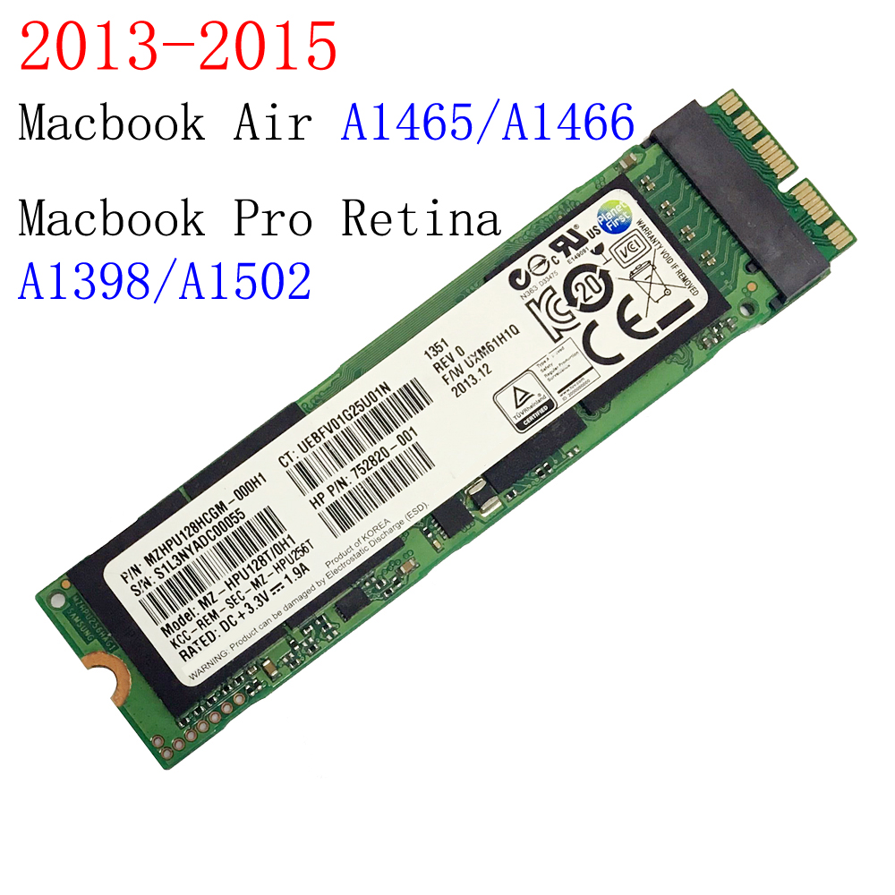 128 GB 256 GB 512 GB SSD pour 2013 2014 2015 Macbook Air A1465 A1466 Macbook Pro Retina A1398 A1502 lecteur à semi-conducteurs