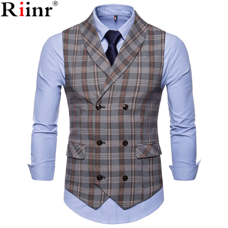 Riinr 2018 Best-Selling Mens Suit Vest Fashion Casual Everyday Slender Checker Lattice Men's Vest Coat Thin Business Jacke