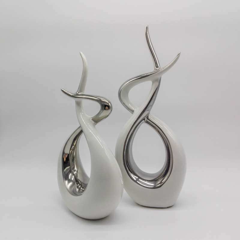 Abstract Sculpture Crafts Modern Home Decor White Ceramic Originality Ornament Porcelain Fashion in Statues Sculptures from Home Garden