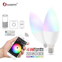 GLEDOPTO zigbee zll led 4W candle light bulb rgb/rgbw/rgbww/cw smart APP control AC100 240V E12/E14 work with amazon echo plus