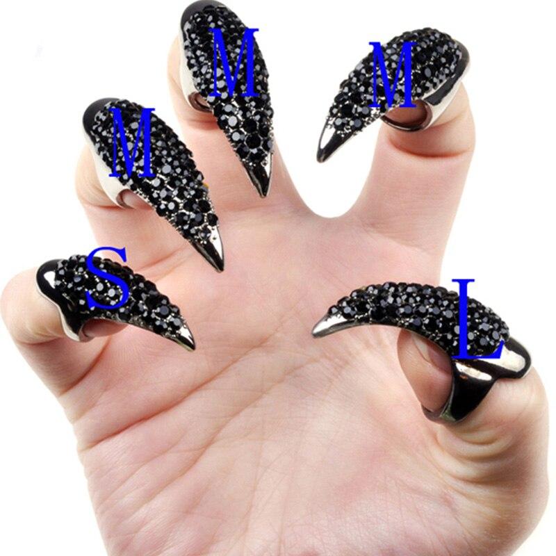 10pcs Nail Art False Nail Clear Crystal Claw Paw Talon Finger Rings  88 WH99810pcs Nail Art False Nail Clear Crystal Claw Paw Talon Finger Rings  88 WH998