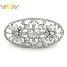 Гламур Vintage открывает цветы ар-нуво овальный брошь Серебряный тон проЛожить и багет Cut CZ цветочные овальной формы контактный Свадебные украшения