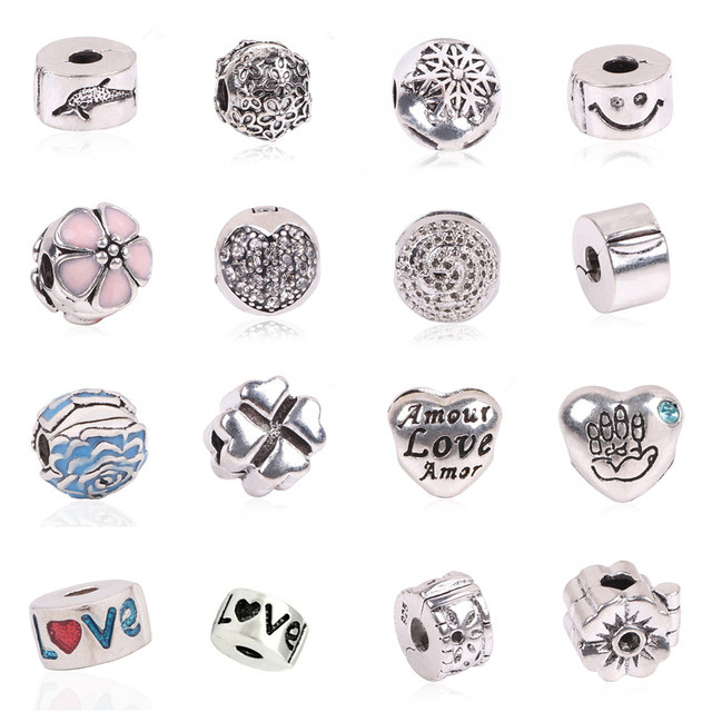 Aifeili Jewelry Beads Copper Charms European Simple Light Version Stopper Bead For Original Pandora Bracelets Bangles