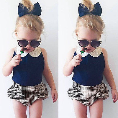 2016 New Fashion Baby Girls Clothes Summer Sleeveless Peter Pan Collar Vest Top + Shorts Bloomers 2PCS Outfit Kids Clothing Set