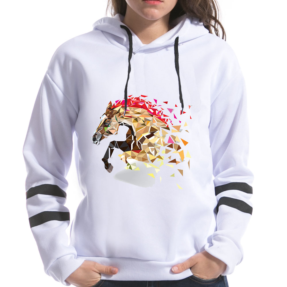 2018 Geometric Horse Fox Print Women Sweatshirts Hooded Long Sleeve Harajuku Kawaii Printing Female Spring Hoodies Tops