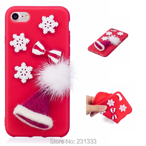 C-ku 3D Santa Claus Soft TPU Case For Iphone X 8 8th 7 PLUS 6 6S SE 5 5S For Huawei P10 LITE Merry Christmas Tree Cover 1pcs