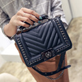 2016 Handmade Black Women Handbags 2 Pattern Available High Quality PU Messenger Bags For Girl's Fashion Style Crossbody Bags