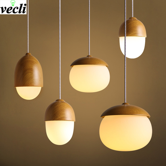 Nordic style Creative nuts pendant lamp modern imitation wood pendant lamp Bedroom dining room cafe Bar Decorative chandelier