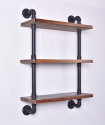 Industrial Pipe Shelving Bookshelf Rustic Modern Wood Ladder Storage Shelf 3 Tiers 24'' Retro Wall Mount Pipe Shelves