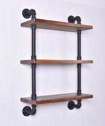 Industrial Pipe Shelving Bookshelf Rustic Modern Wood Ladder Storage Shelf 3 Tiers 24'' Retro Wall Mount Pipe Shelves