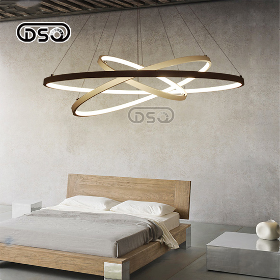 DSQ.Nordic Simple Chandelier Modern Creative Led Restaurant Lamp Circular Fashion Living Room Bedroom Study Ring Chandelier