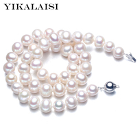 YIKALAISI 2017 9 10mm Natural Freshwater Pearl choker Necklace 925 sterling silver jewelry real Pearl Necklace with for women
