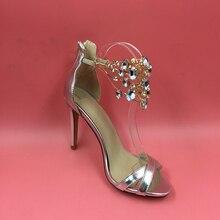 Echt Bild Silber Kristall BeadsWomens Sandalen Reißverschluss High Heels Alias Mujer 2017 Chaussures Femmes Sandali Damen Schuhe