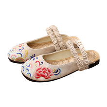 luxury shoes women designers Summer Breathable Footwear womens Flat Canvas Shoes Hemp Lazy Flats For Cheap Half slippers