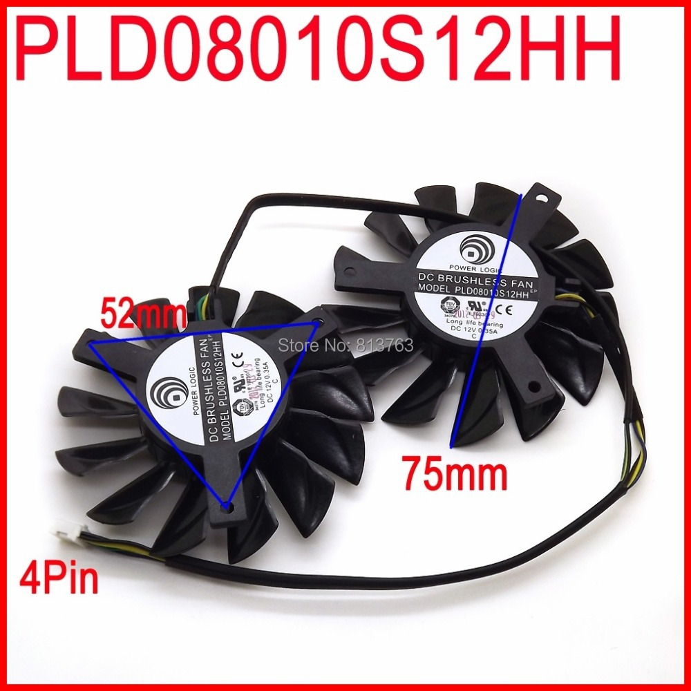 2pcs / lot PLD08010S12HH 75mm DC 12V 0.35A 4Pin dvostruki ventilatori Zamjena video kartice ventilator za MSI Twin Frozr III