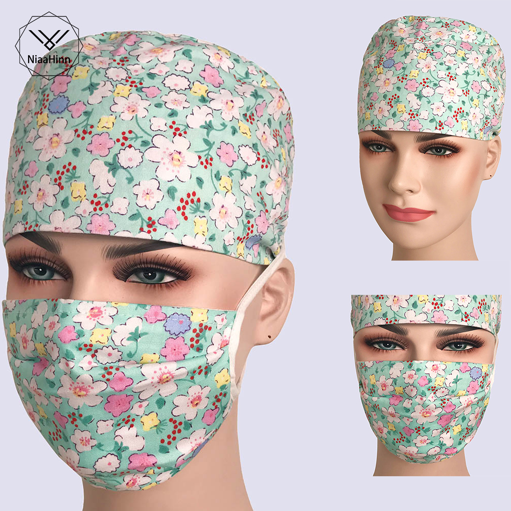 Small Fresh Print Surgical Cap Women Men Medical Hat Chef Doctor Nurse Cotton Adjustable Sweatband Dentist Cooker Work Masks