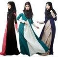 2015 Nuevo vestido de color de contraste vestido Islámico de dubai abaya Musulmán ropa Islámica Musulmán del abaya kaftan Vestido hijab jilbab turco