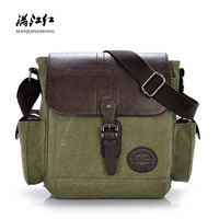 Vintage Canvas Men Messenger Bags Small Patchwork Leather Shoulder Sling Bag Men Casual Crossbody Bags For Men Male Satchel 1216