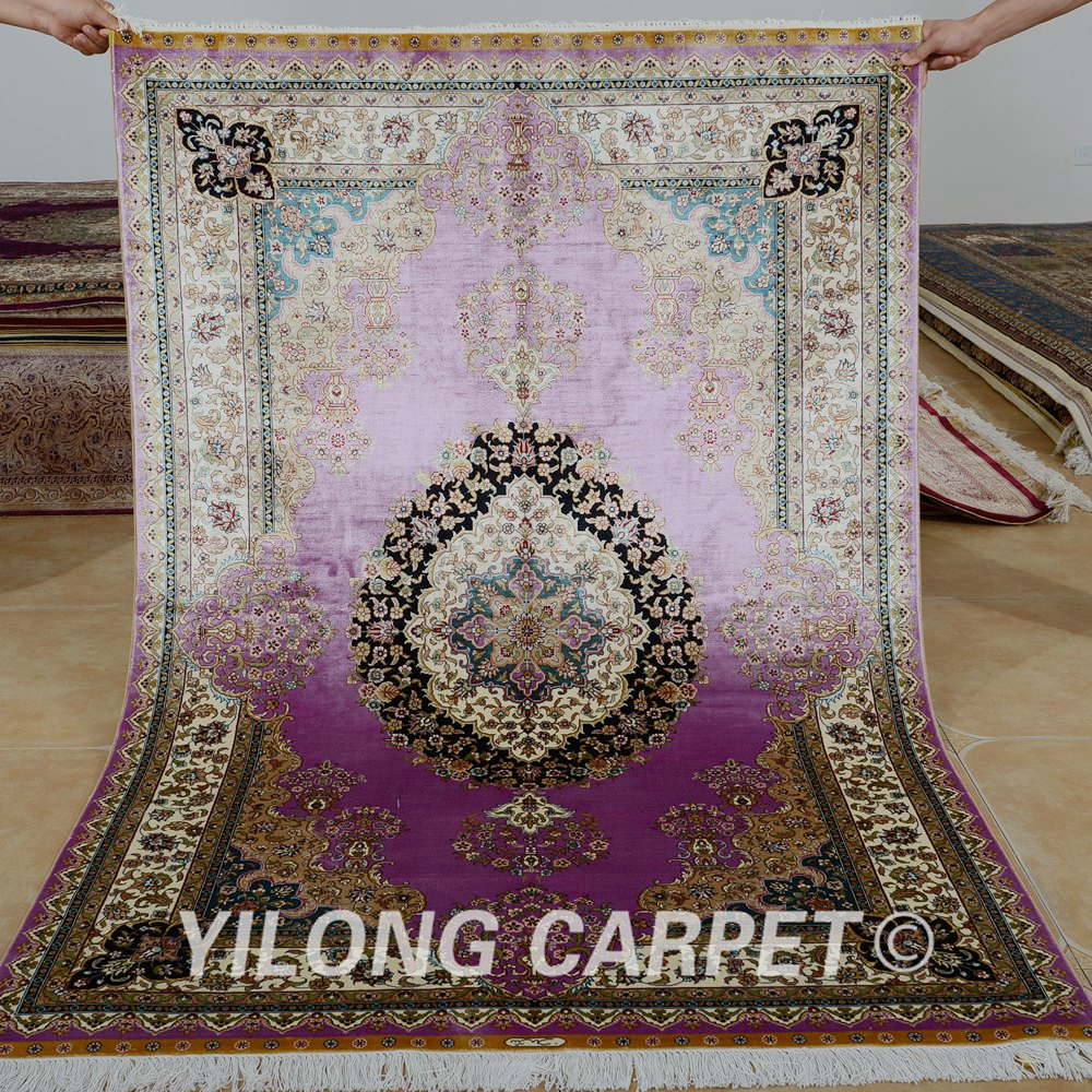 Yilong 4u0027x6u0027 Traditional Silk Carpet Vantage Purple Persian Rug For Sale  (0114