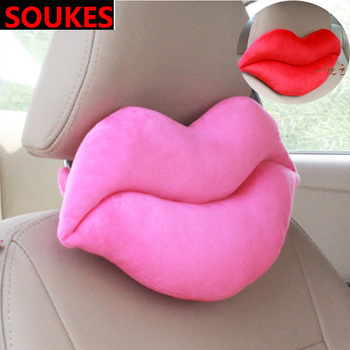 Car Lovers Red Lips Beard Headrest Neck Lumbar Pillow For Cadillac CTS SRX ATS Lexus RX NX GS CT200H GS300 RX350 RX300 Saab 9-3 image