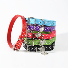 Fashion PU Leather Pet Dog Collar With Beautiful Bling Rhinestone Heart For Small Medium Dogs Pet Supplies