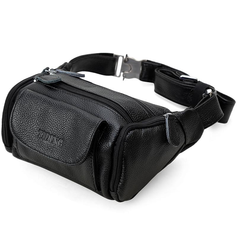 Men WaistPacks Genuine Leather Waist Bag Male Travel Waist Pack Fanny Pack Belt Bag Phone Pouch Bags Small Chest Packs brand logo casual travel style genuine leather men waist pack pouch belt bag wallet for man chest pack cowhide shoulder bag