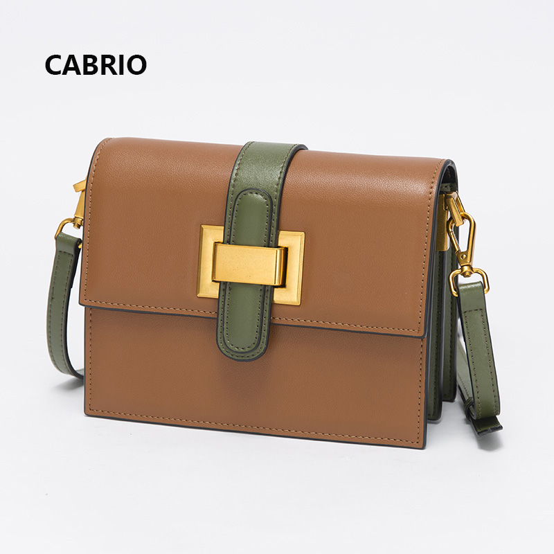 CABRIO Women Flap Crossbody bags Colors Patchwork Genuine Leather Small Messenger Bags For Women Lady Clutch Bags Leather Lock cabrio casual women crossbody bags patchwork genuine leather flap small messenger bags for ladies women clutch bag metal button