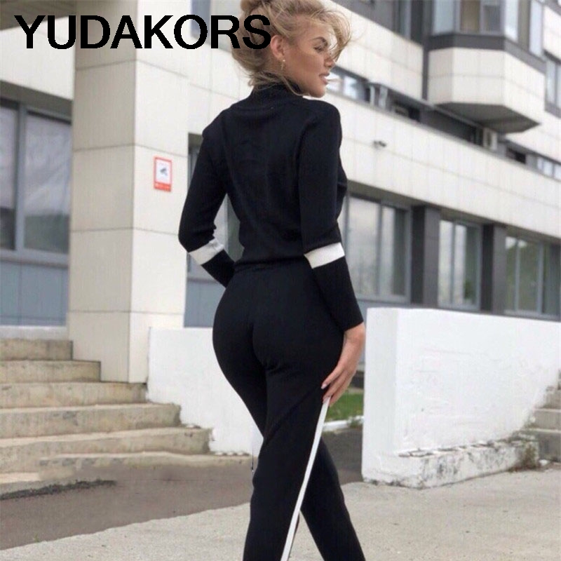 Femmes Survêtement Automne Casual Col Roulé En Tricot Sportwear Manches Longues 2 pièce Pantalon Ensembles Bande Tricot Costumes YD181