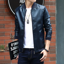 New Autumn Jacket Men PU Leather Coat Male Casual Fashion Baseball Collar Motorcycle Tidal Flow