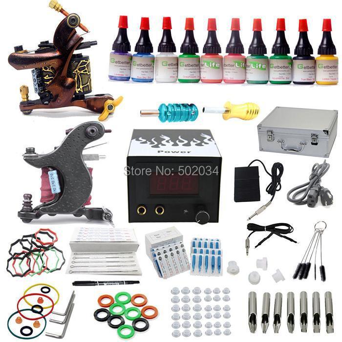 USA Dispatch Complete Starter Tattoo Kits 2 Machine Guns 10 Inks Colors LCD Power Grips Tip Needles Equipment Sets Supplies